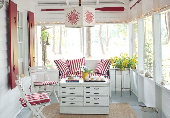 red and white sun porch