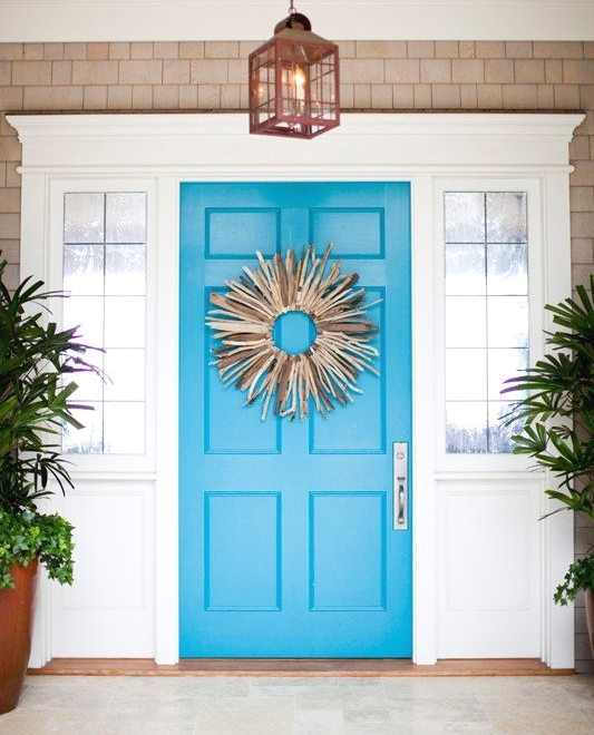 Blue Front Door with Driftwood Wreath