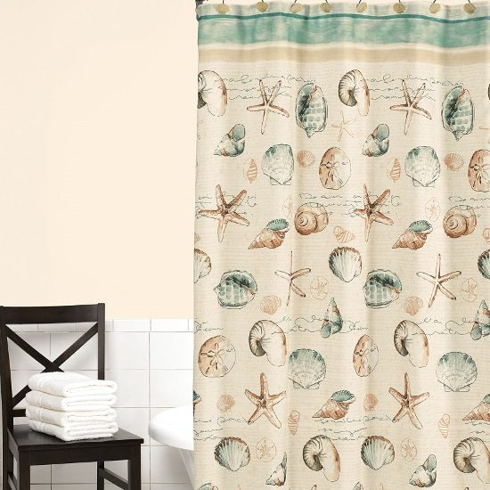 Seashell Coastal Beach Shower Curtain