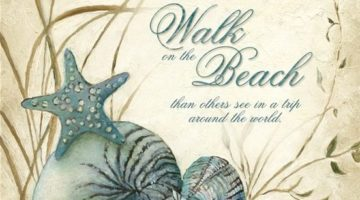 Walk on the Beach Quote Art Print by Charlene Olson