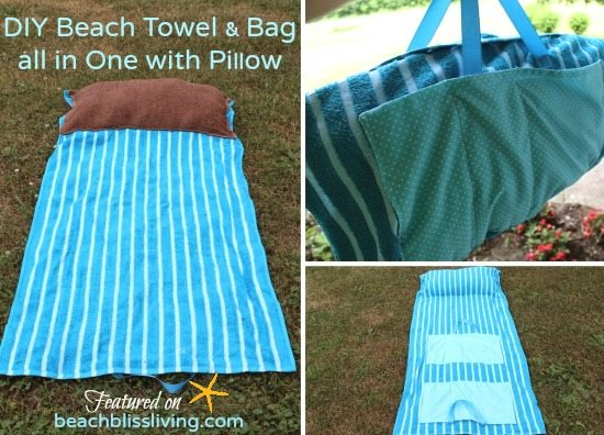 DIY Beach Towel Bag with Pillow