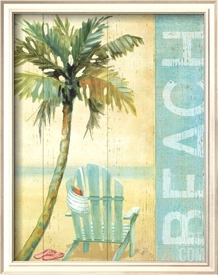 Tropical Beach Art Print with Adirondack Chair
