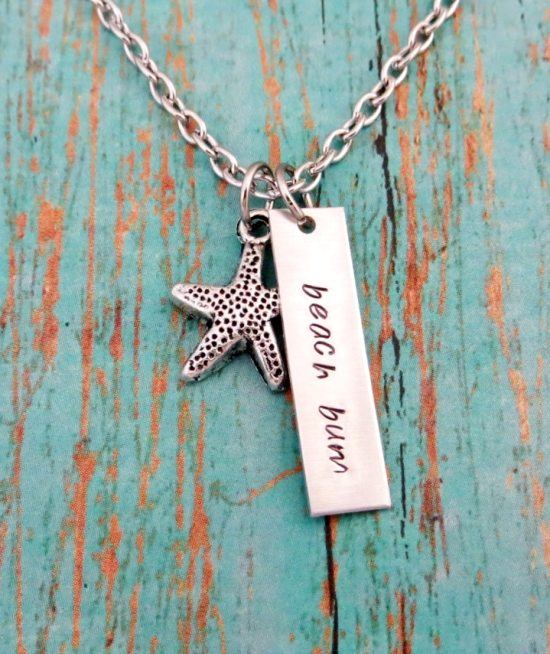 Beach Bum Necklace Hand Stamped