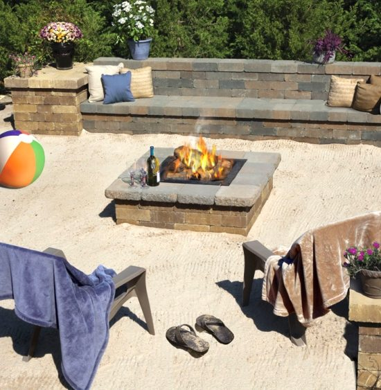 Beachy Backyard with Fire Pit