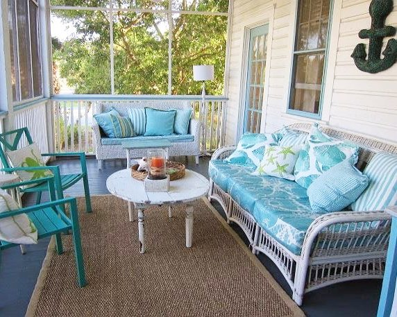 Create beach bliss with a blue porch floor beach bliss for Beach porch ideas