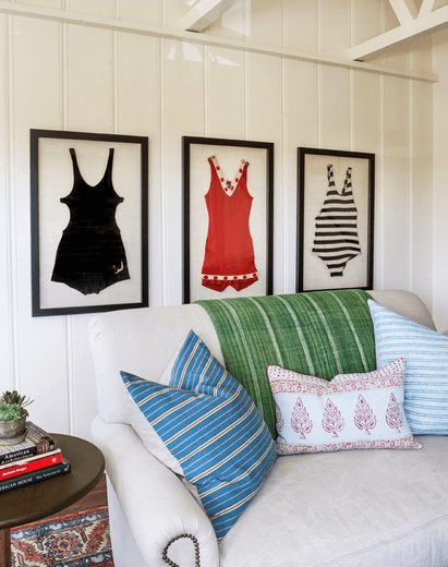 Framed Vintage Swim Suits Wall Decor