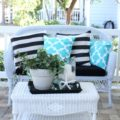 Summer Cottage Porch with White Rattan
