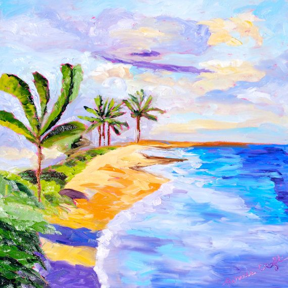 Palm Trees Beach Painting Etsy