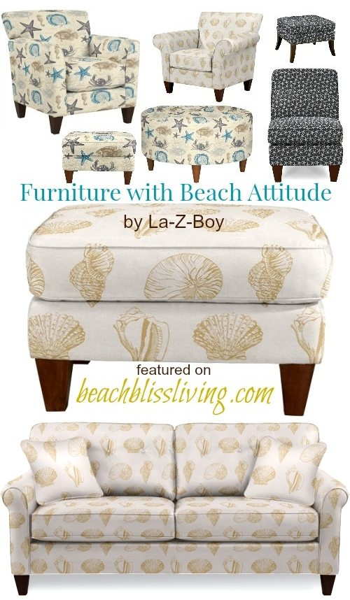 Lazyboy Chairs Ottomans Beach Seashell Starfish Fabric
