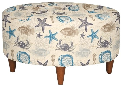Beach Seashell Fabric Ottoman Round