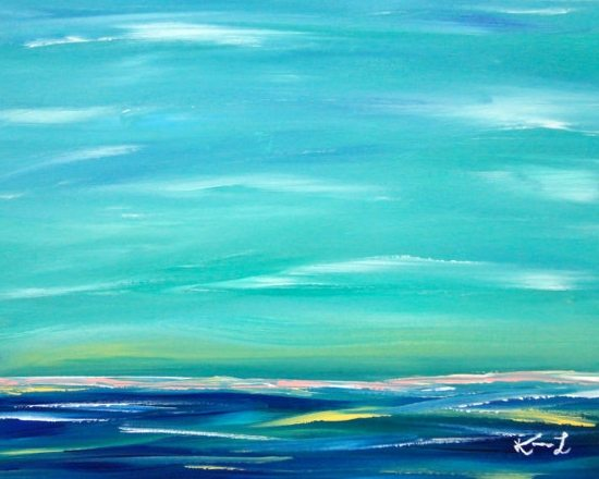 Original Abstract Ocean Painting Etsy