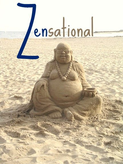 Sand Buddha Sculpture on the Beach