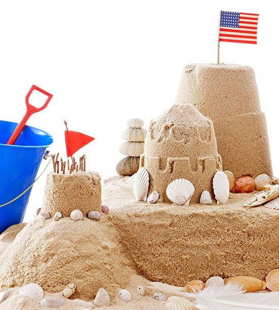 Sandcastle with American Flag