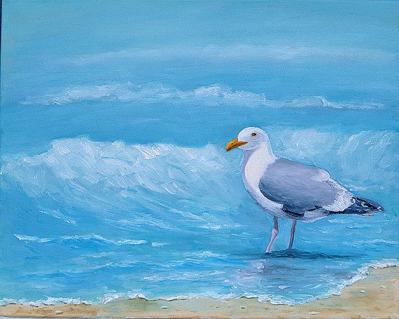 Seagull on Beach Painting