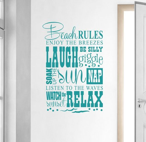 Beach Rules Wall Decal