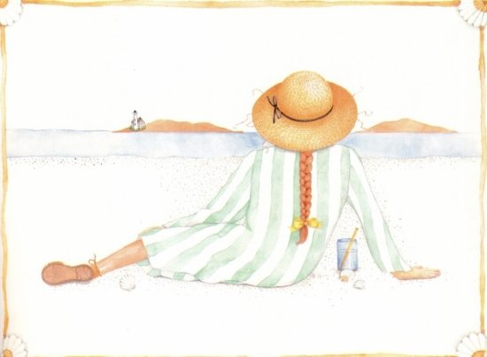 Woman by the Sea Painting Susan Branch Lighthouse Beach
