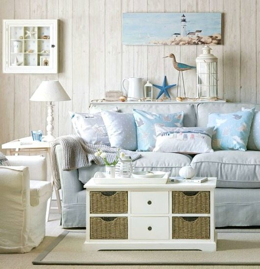 Blue Beach Pastel Living Room