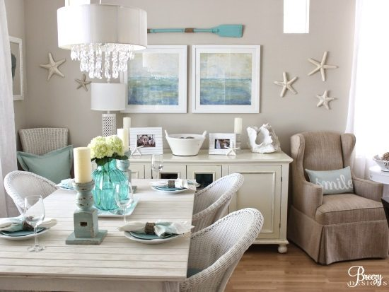 Easy breezy living in an aqua blue cottage beach bliss for Cheap beach decorations for the home