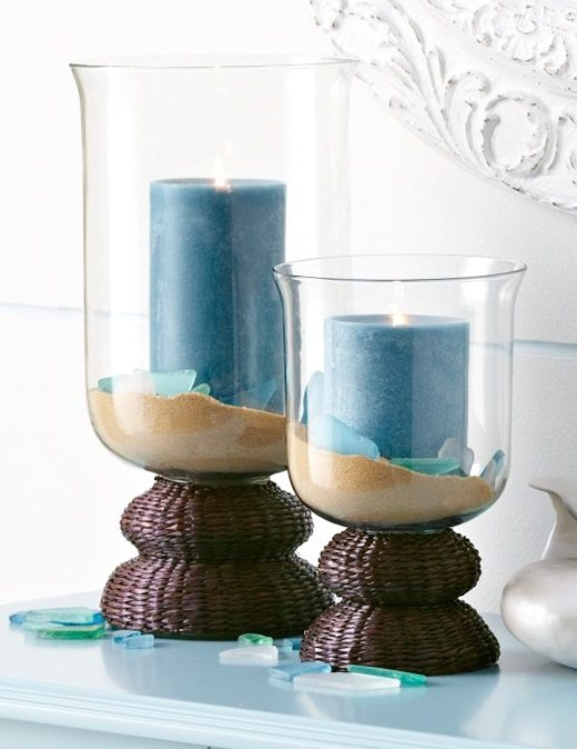 Beach Glass Candle Vase
