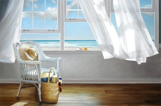 Chair by Window with Ocean View Painting
