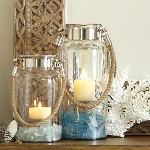 Glass Lanterns with Beach Display