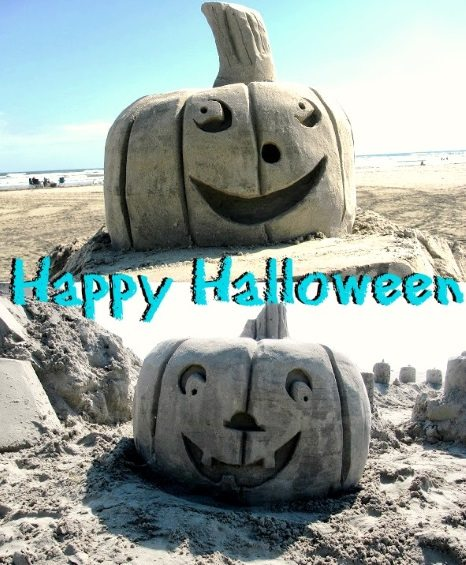 Happy Halloween Beach Sand Pumpkin Sculptures