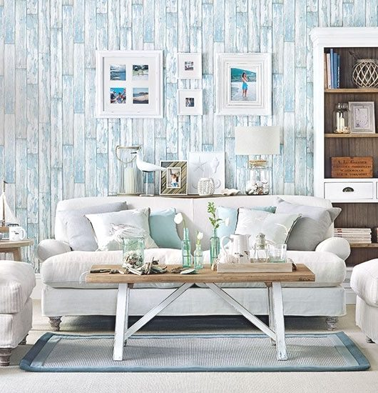 Paneled Walls Beach Living Room