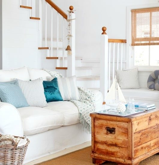 White Beach Living Room with Wood
