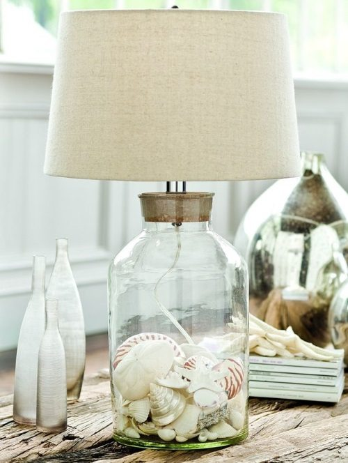 Clear Glass Table Lamp Filled