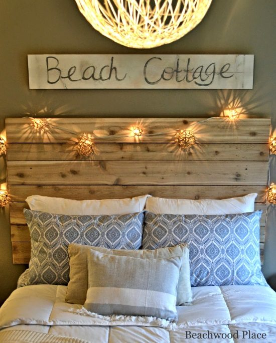 Beach theme guest bedroom with diy wood headboard wall for Beach room decor