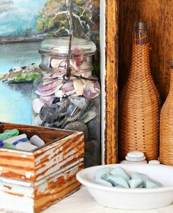 Beach Vacation Memory Shells and Beach Finds in Jars, Boxes and Bowls