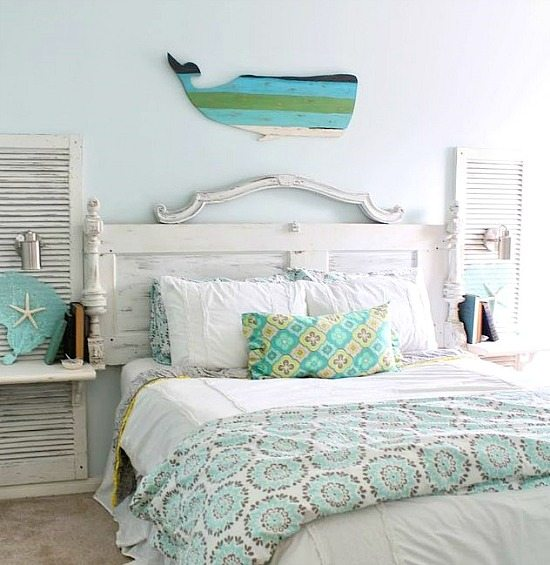 Beachy Aqua Whale Wall Decor above Headboard