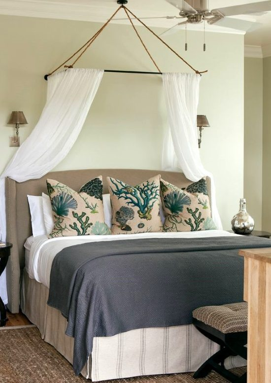 Canopy above Bed & Awesome Above the Bed Beach Themed Decor Ideas