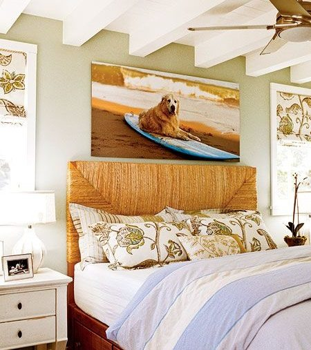 Large Beach Photo Canvas above Bed