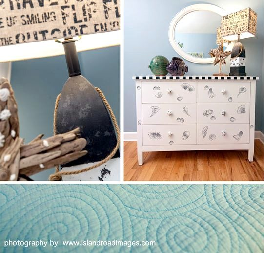 Painted Dresser with Shells for Beach Bedroom