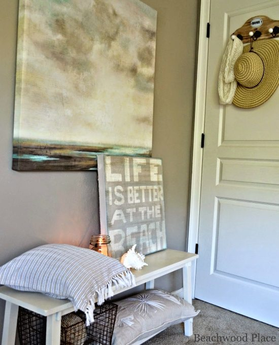 Diy Headboards Paint Colors And Living Room Paint: Beach Theme Guest Bedroom With DIY Wood Headboard, Wall