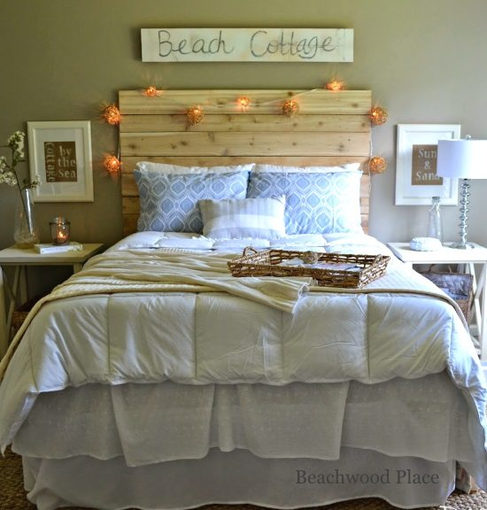 Beach Theme Guest Bedroom With Diy Wood Headboard Wall