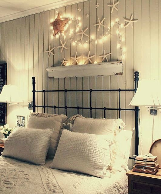 Interior Over The Bed Decorating Ideas awesome above the bed beach themed decor ideas starfish with christmas lights over bed