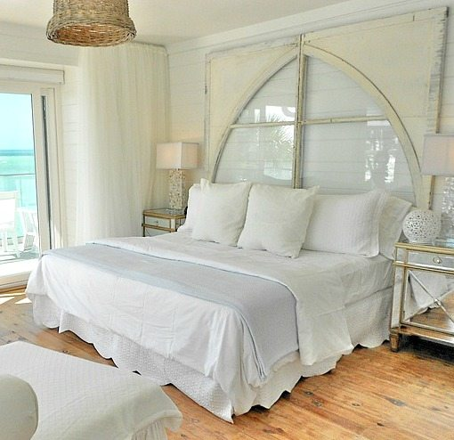 Vintage Window Headboard in a Beach Cottage