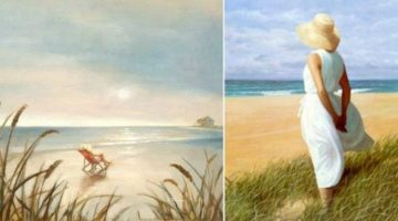 Dreamy Paintings of Women on the Beach Looking to Sea