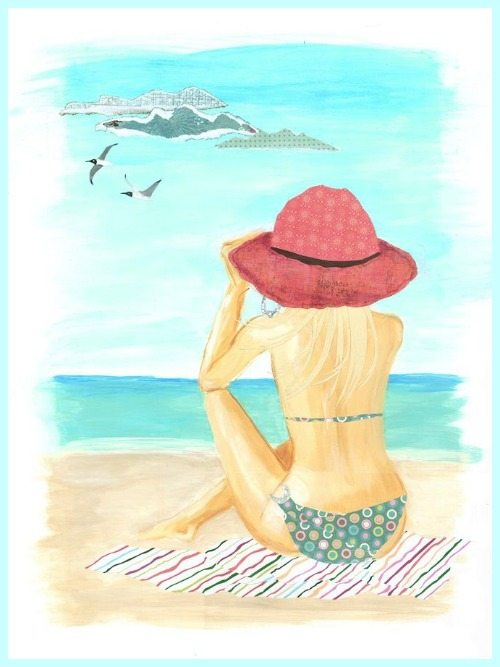 Woman Sitting on the Beach Painting