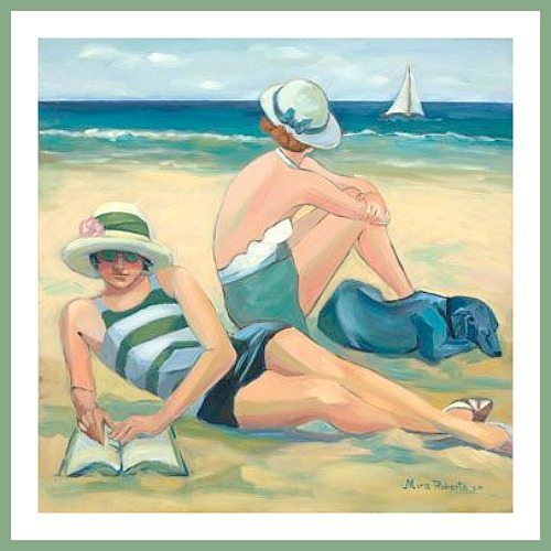 Woman Reading on the Beach Painting