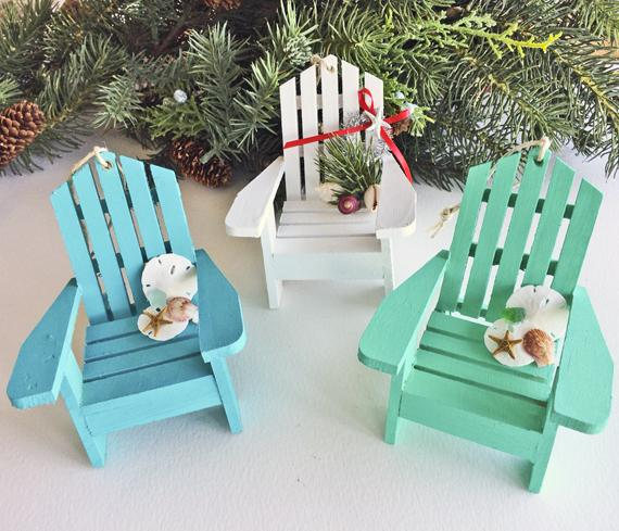 these super cute adirondack chairs are a perfect christmas tree ornament pick between turquoise aqua or white colors check them out here - Beach Christmas Decorations