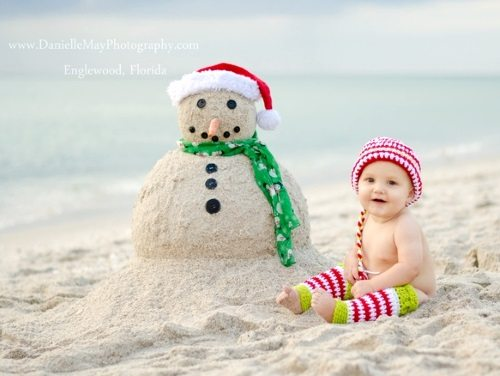 Baby Christmas Card With Sandman