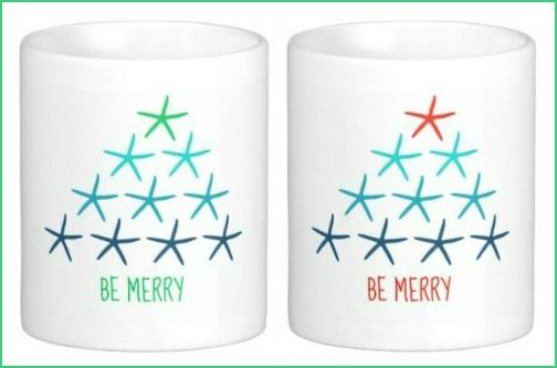 Be Merry Beach Christmas Mugs with Starfish