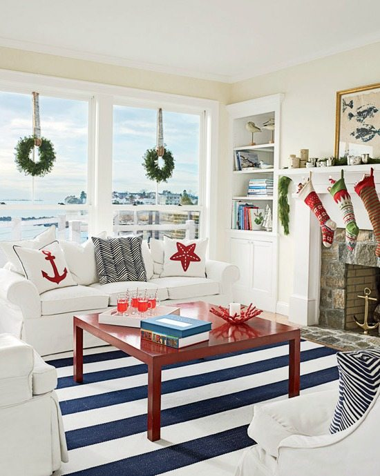 Blue and Red Beach Cottage Christmas