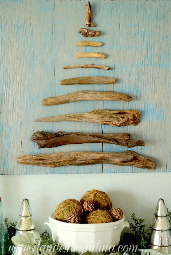 Coastal Driftwood Wall Tree on Wood