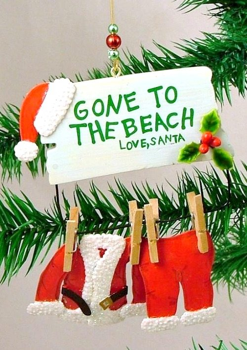gone to the beach santa ornament