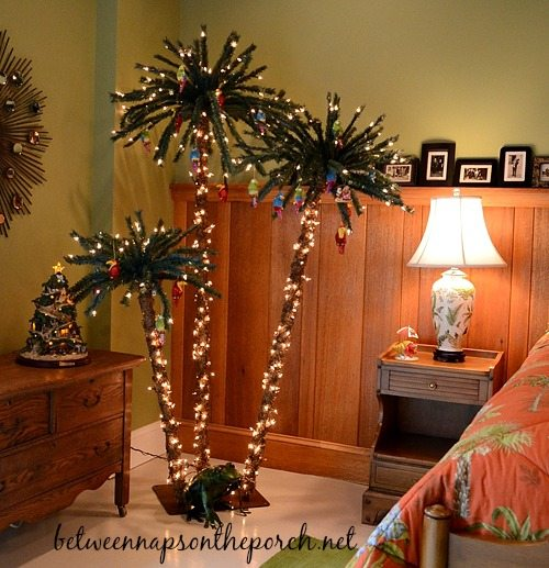 palm christmas trees in bedroom - Palm Tree Decorated For Christmas