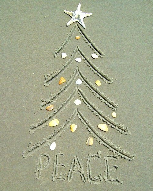 sand drawing christmas tree idea